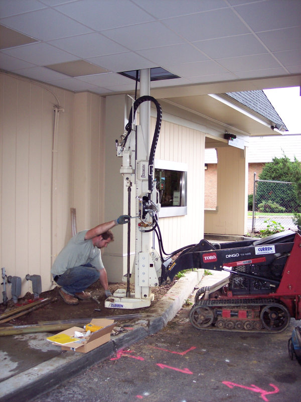 drilling under drive thru canopy