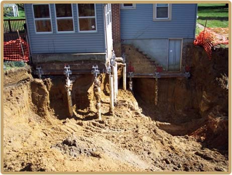 foundation support with helical piers
