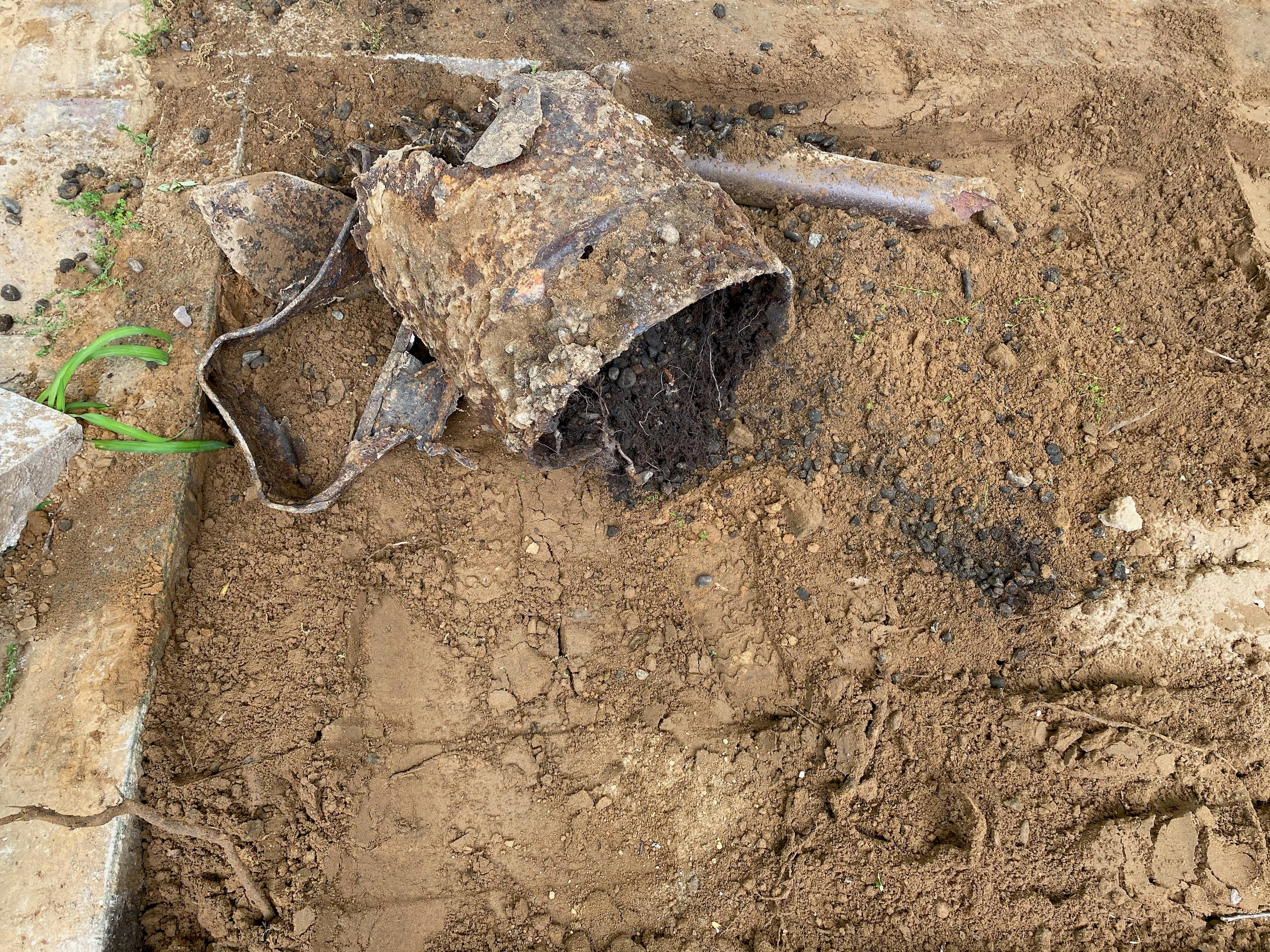 buried metal debris from metal detector tank sweep